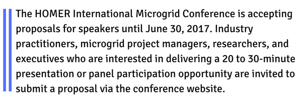 Speak at HOMER International Microgrid Conference
