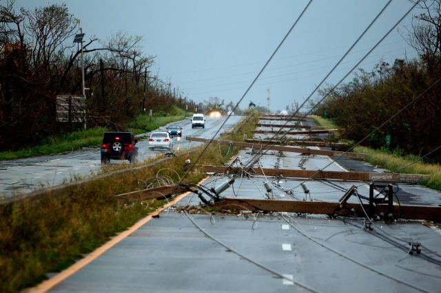 Puerto Rico power lines after Maria