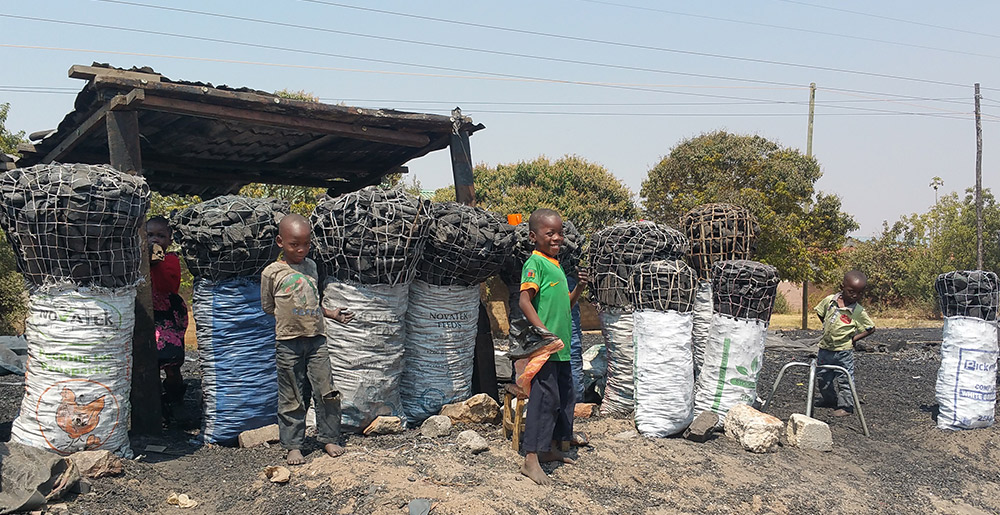 Children selling charcoal in Zambia
