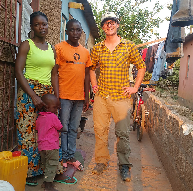 Jon Leary with Zambian family